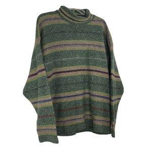 Connemara Wool Fishermans Sweater Green Stripe L